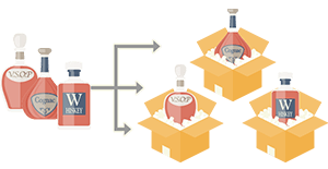 Multiple bottles will be separated into several packages