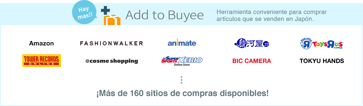 Únete a Buyee, con más de 160 sitios de compras disponibles.